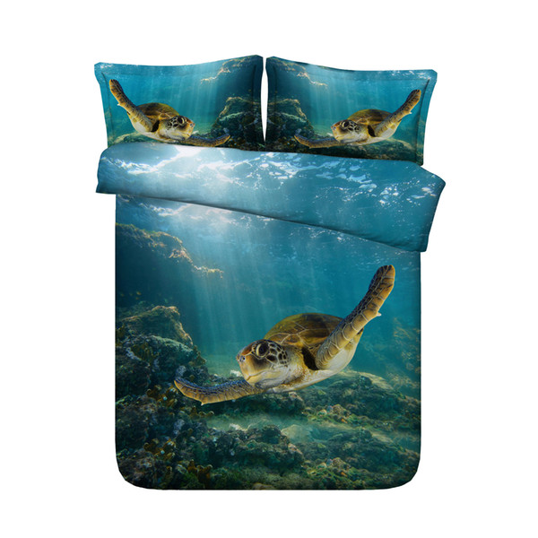 Underwater 3D Sea Turtle Bedding Hawaii 1 Duvet Cover 2 Pillow Shams Ocean Animals Fishes Bed Set Tortoise Swimming In Blue Sea World Coral