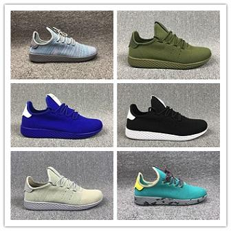 Adidas Tennis HU 2018 Pharrell Williams x Stan Smith Tennis Uomo Donna Running Shoes HU Primeknit Bianco Verde Blu Rosso Mesh Sports Sneaker taglia 36-45