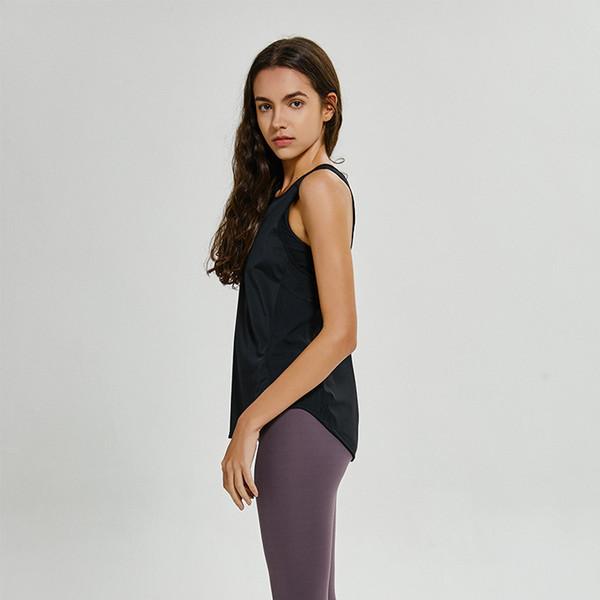 LU-59 Оптовая йога жилет футболка сплошные цвета женская мода открытый йога танки спорт бег тренажерный зал топы одежда