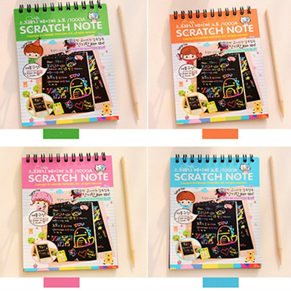 best selling DIY Scratch Art Paper Notebook Note Drawing Stick Sketchbook Kids Party Gift Creative Imagination Development Toy Mix colors