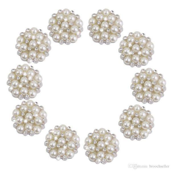 1 Inch Silver Plated Cream Pearl and Rhinestone Crystal Diamante Small Brooch Pin Wedding Bouquet Accessory