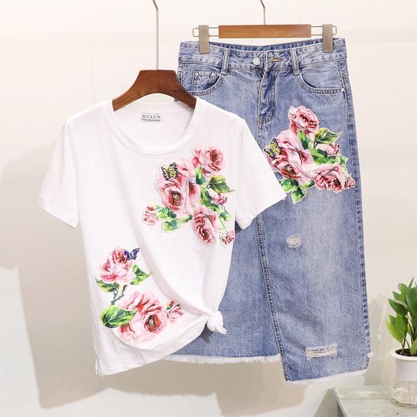 NEWWomen Flower Applique Pailletten T-Shirts + Mid Calf Unregelmäßige Denim Jean Röcke Sets Anzug