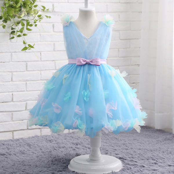2019 Elegant V-neck Tulle Drapes Flower Girls Dresses Multicolorized Flower Fairy Dresses with Pretty Butterfly and Big Sash Bow Bridal Gown
