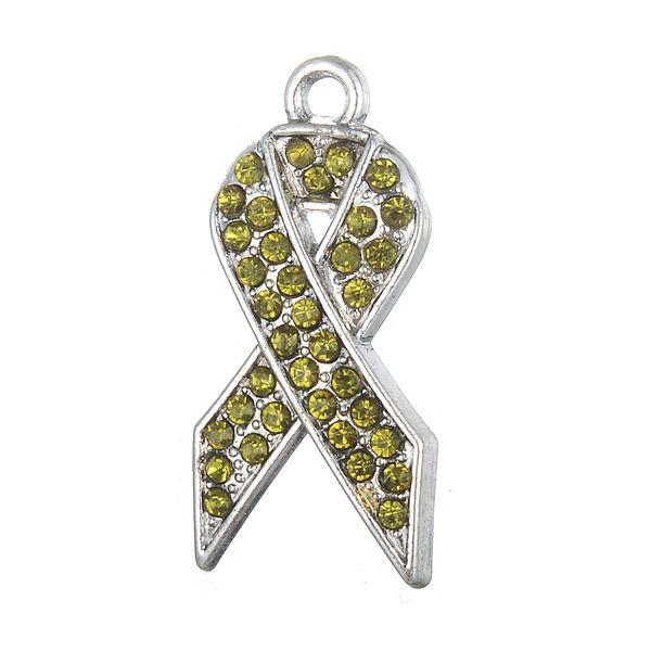 46c028c1a8c Myshape Assorted Cancer Awareness Ribbon Charm Pink Red Blue Yellow Red  Gold Green Purple Ribbon Rhinestone