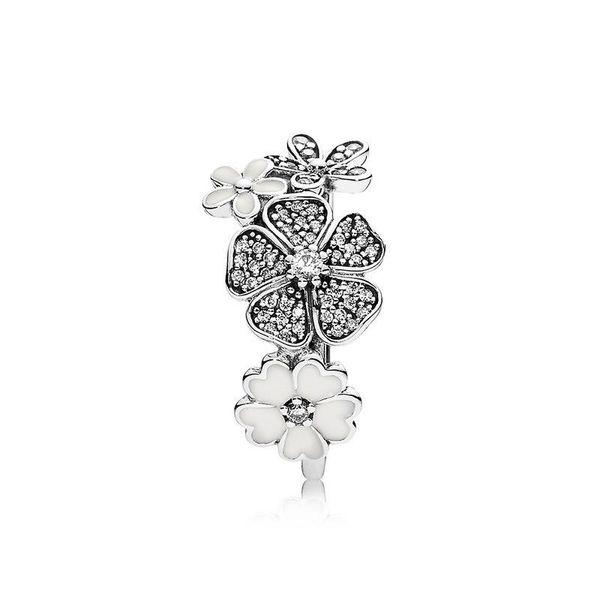 YENI Beyaz emaye çiçekler Düğün HALKA Seti Logo Orijinal Kutusu Pandora 925 Gümüş CZ Elmas Yüzükler Kadınlar Kızlar için