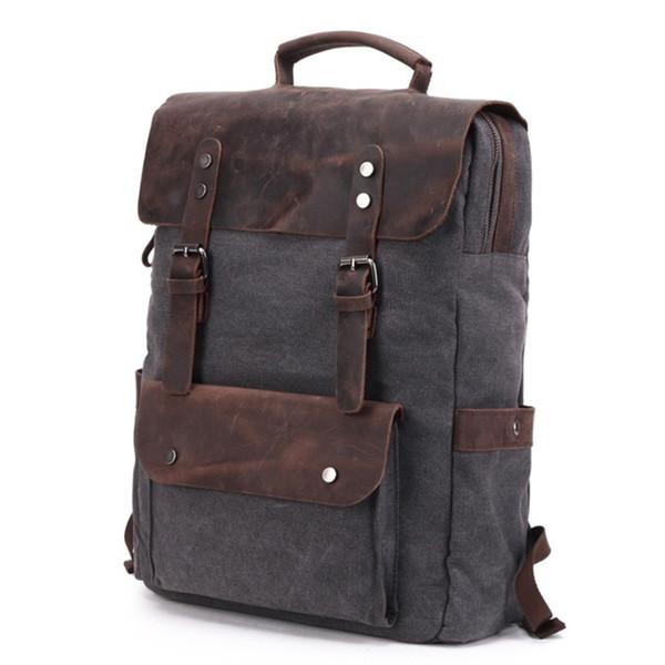 "Yupinxuan Vintage Canvas Leather Backpacks For Men 14"" Laptop Daypacks Waterproof Canvas Rucksacks Large Waxed Travel Back Packs Y19061102"