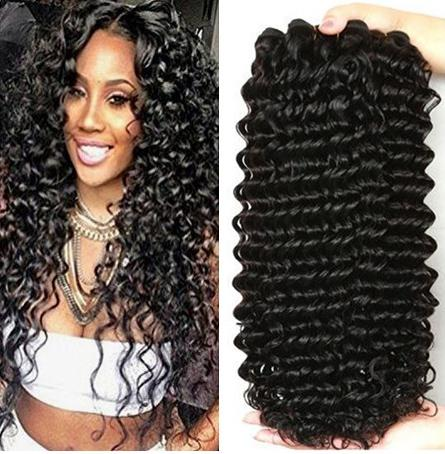 Brazilian Virgin Hair Deep Curly Natural Color 3 Bundles Unprocessed Deep Wave Sew in Weft Remy Human Hair Extensions