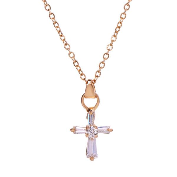 Kubikzircon kreuz halskette Für Frauen Kreuz Anhänger choker Halsketten Strass Gold Silber Ton Kruzifix Charme Hohe Qualität