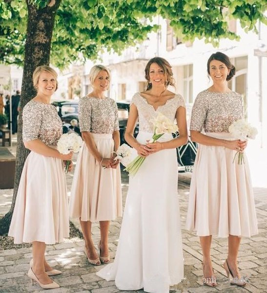 Bling Bling Silver Sequined Bridesmaid Dresses 2020 New Design Hot Selling A-Line Tea Length Half Sleeve Blush Maid of Honor Dress B94