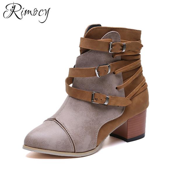 484fd8fcf7 Rimocy 2019 primavera mujer botas de vaquero hebilla zapatos mujer botines  de tacón alto para mujer