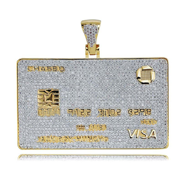 Iced Out VISA Diamond Кредитная Карта Ожерелье 18 К Позолоченные Мужская Хип-Хоп Bling Подарок Ювелирных Изделий