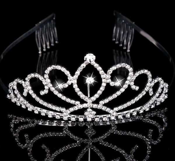 best selling Girl's Tiaras Wtih Rhinestones Crystals Hair Accessories Evening Prom Party Performance Pageant Tiaras and Crowns For Girls DB-T015