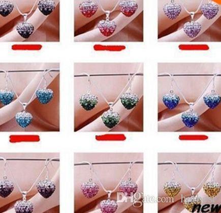 hotsale faits à la main perles couleurs mélangées argent coeur d'argile plaqué or Crystall changement progressif collier pendentif en cristal boucle d-oreille G352