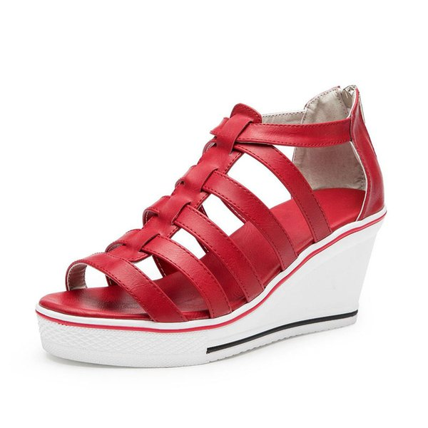 Wedge sandals female new back zipper muffin with thick bottom 8 cm high female sandals thick with Roman shoes .SP-031