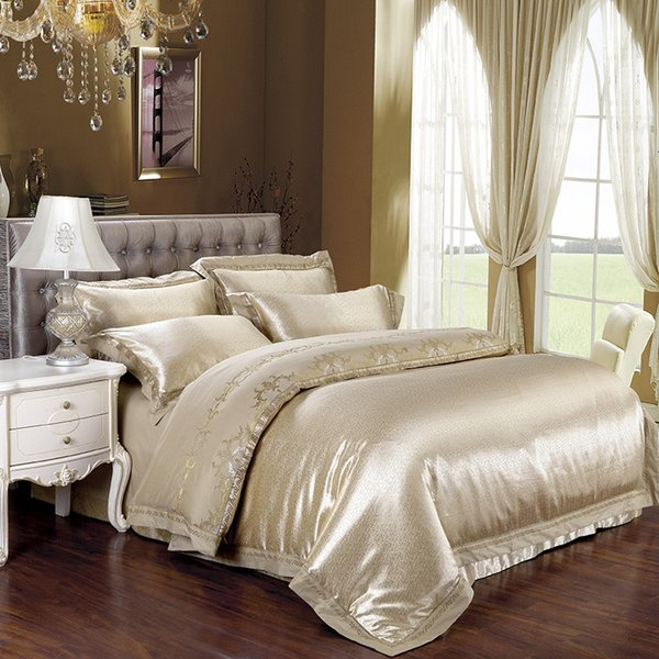 IvaRose Home Decorative Bedding set Stain Jacquard Cotton fabric King Queen size Bed set with Duvet cover Bedsheet Fitsheet