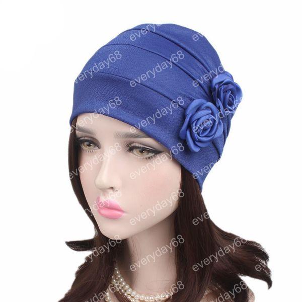 Donne musulmane due floreale volant cotone turbante cappello Bandane headwraps cancro berretti cappellino berretto cappelli signore accessori per capelli