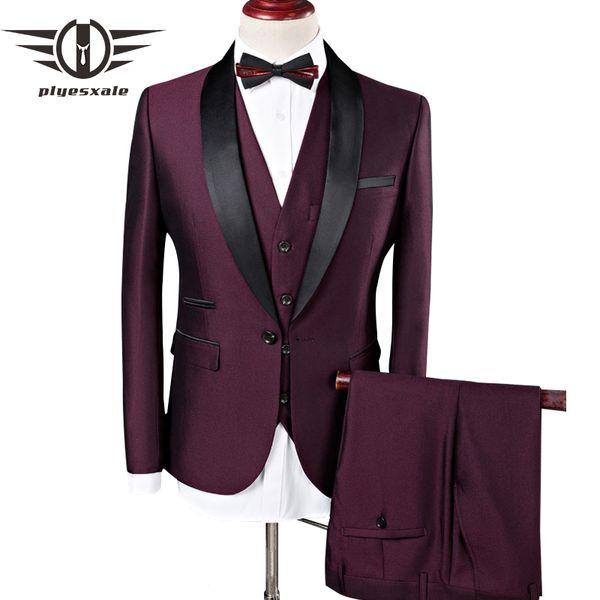 Plyesxale Wedding Suits Men Shawl Collar Pieces Slim Fit Burgundy Suit Mens Royal Blue Tuxedo Jacket Q83 C190416