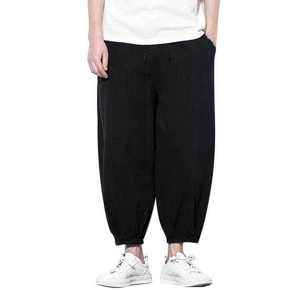 Men's Summer New Style Harren's Baggy Wide-Legged Pants Hip hop style loose large size men's pants Black Comfortable Pant