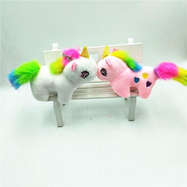Unicorno portachiavi bambola peluche piccolo ciondolo portachiavi mini sacchetto di bambola ornamenti appesi portachiavi bambini adorabili 3 3sra N1