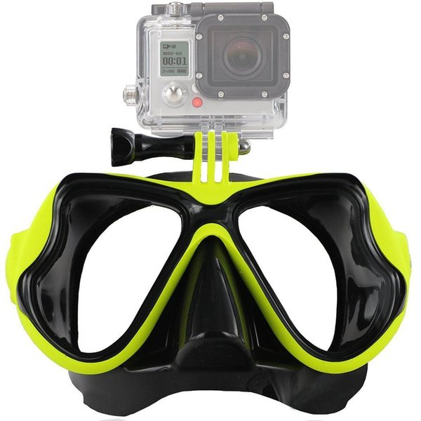 Montage léger de caméra durable de masque de plongée de caméra, plongée en natation jaune, rouge, noir, masque bleu