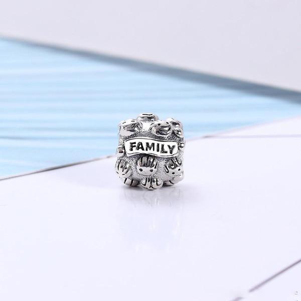 Amour Famille Ensemble Charme Perle 925 En Argent Sterling De Mode Femmes Bijoux Style Européen Pour DIY Bracelet Bracelet