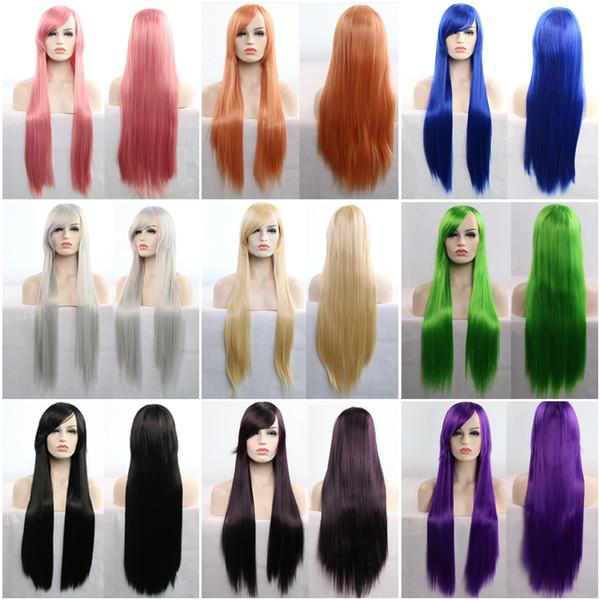 Мультфильм парик косплей ролевые игры, потому что косплей с 80 см 30 дюймов длинные прямые волосы парики