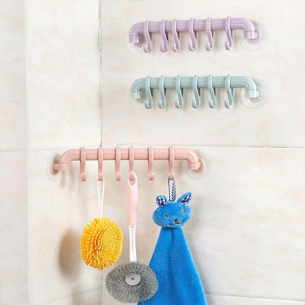 Ventosa de pared Gancho para colgar Ganchos 6 Ganchos Toallero Cocina Baño Esponja Lechón Titular Plástico Gancho de esquina