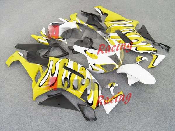 3 Geschenke neue ABS Motorrad Bike Verkleidungen Kits fit für Kawasaki Ninja ZX6R 636 2007 2008 07 08 6R 600CC Karosserie Set Verkleidung cool weiß gelb
