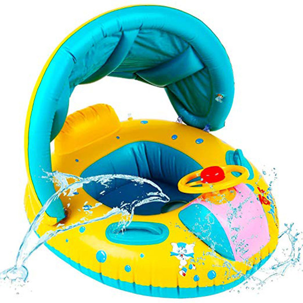 Inflatable Baby Float Seat Boat Kids Portable Swimming Safety Seat Adjustable Sunshade Boat Ring Summer Pool Water Sport