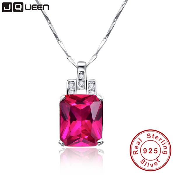 JQUEEN Belas Jewellry Rubi Pingente Colar de nome personalizado pingente 925 jóias de prata esterlina com cadeia de caixa