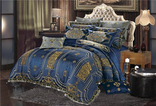 Silk Cotton Luxury Satin Jacquard Blue Bedding Set Queen King size Oriental Bedding Sets Bed Sheet/Spread Set Duvet Cover
