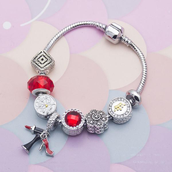 Nuevo estilo DIY rojo cristal cuentas de cristal tacones altos lápiz labial colgante serie mujeres serpiente hueso pulsera
