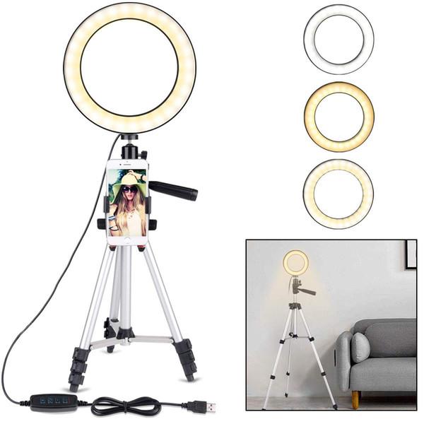 Anillo de luz con soporte de trípode para video y maquillaje de YouTube, Mini luz de cámara LED con soporte para teléfono celular Lámpara LED de escritorio con 3 luces M