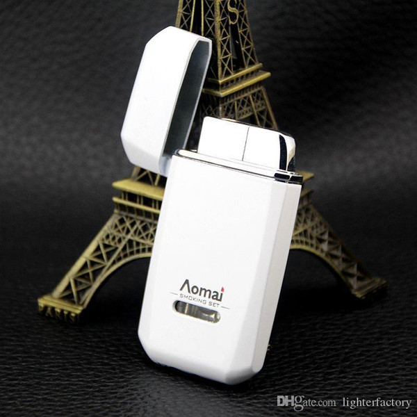 New Arrival Genuine Aomai Compact Jet Butane Lighter Torch Octagon Red Flame Metal Windproof Lighter Can Print Logo
