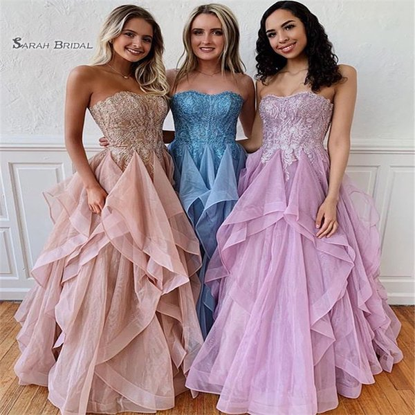 Tulle Sweetheart Ruffled Prom Dresses Sleeveless Plus Size High End Quality Evening Party Dress Hot Sales