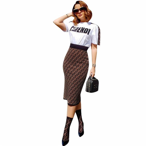 Women F Letters Casual Skirt Set Spring Summer Short Sleeve Tshirt Tops + Bodycon Skirt 2 Piece Outfits Fashion Dresses Suit S-2XL C41208