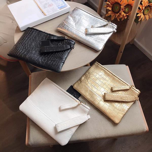 Moda Tasarımcısı Lüks Kadın Çanta Çanta Çanta Timsah Baskı Zarf Çanta Yüksek Kaliteli Para Cüzdan Hakiki Deri Debriyaj Tote Çanta Çanta