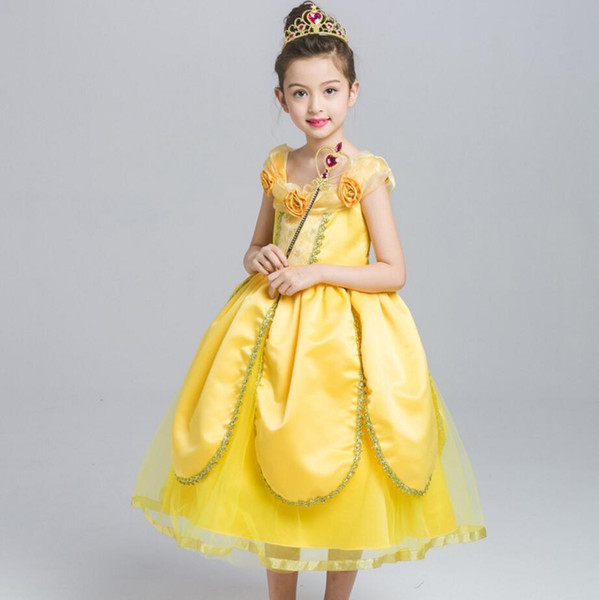 Girl party wear clothing for children summer Short sleeves lace princess wedding dress girls teenage well party prom dress