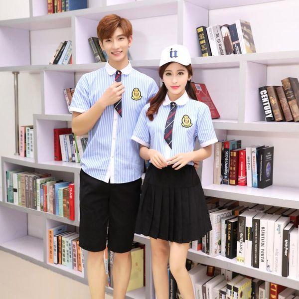Summer Japanese School Uniform Girls Korean Navy Uniforms Boys Student Striped Shirt +Black Pants Plus Size Cosplay Clothing