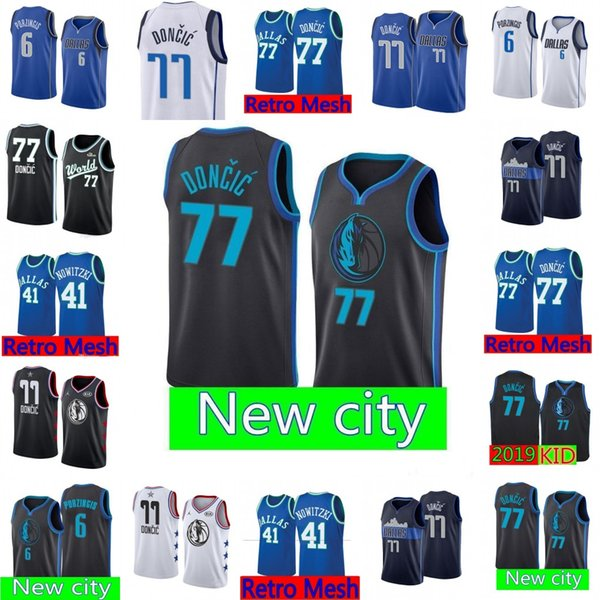 pretty nice 67d96 8a503 2019 Dallas Maverick Jersey Black Luka 77 Doncic Kristaps 6 Porzingis  Basketball Jerseys Retro Mesh Mavericks Blue Dirk 41 Nowitzki 77 Doncic  From ...