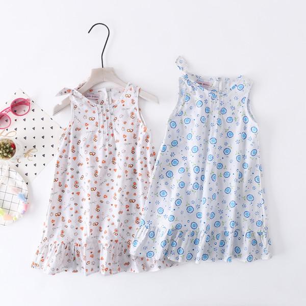 Kore versiyonu 2019 çocuklar için yeni kız sling etek, saf pamuk yaz kırık çiçek A-etek, bayanlar yelek etek