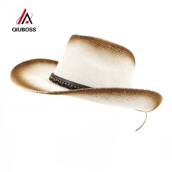 QIUBOSS Brown Spray Paint Western Cowboy Straw Hat Women Ladies Wide Brim Sunshade Hat Beach Sun Protection Cap Holiday Sunhat