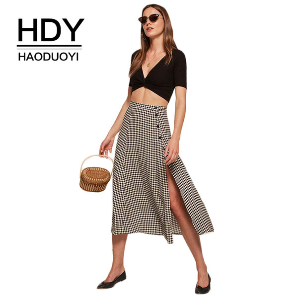 Hdy Haoduoyi Plaid Split Side Summer 2018 Women Sexy Button Vintage Midi Skirt Casual Elegant High Waist A-line Fashion Y19043002