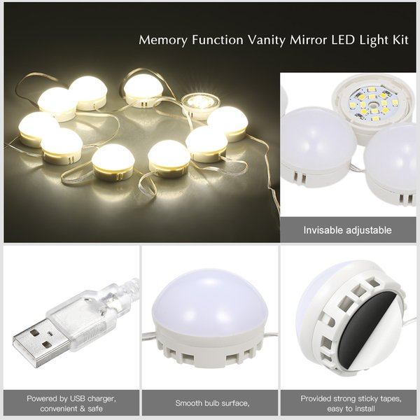 Makeup mirror Bulbs 10 LED Vanity Mirror Lights Kit with Dimmable Light Bulbs Lighting Fixture Strip for Dressing Room USB Port