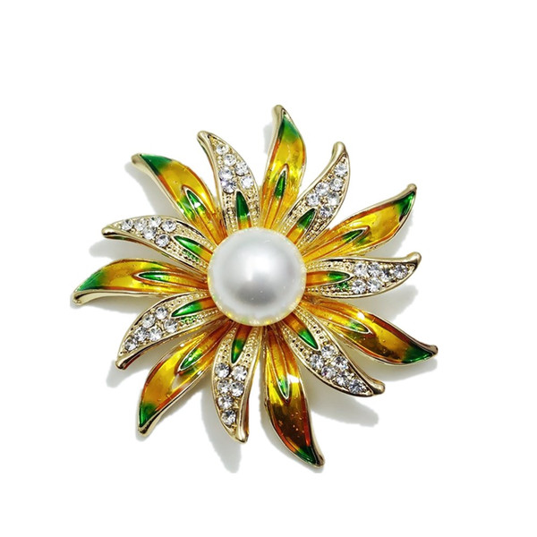 New Fashion Enamel Simulated Pearl Sun Brooch Vintage Rhinestone Flower Brooches for Women Jewelry Wedding Clothes Gift