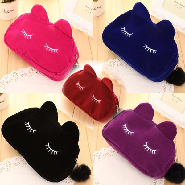 Sacchetto cosmetico per gatti portatile portatile multicolore comfort borsa in peluche da donna coreano borsa da viaggio a mano pacchetto gatto domestico cartone animato