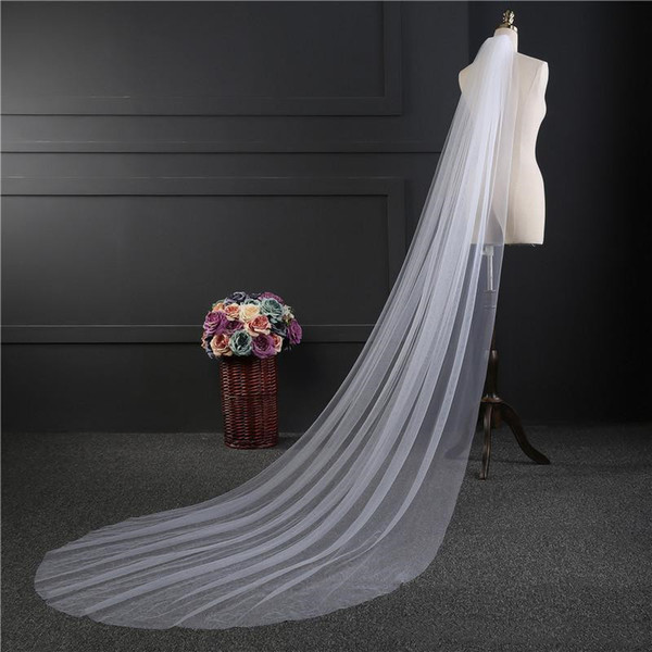 In Stock! One Layer 3 meters Long Wedding Veil Tulle With Comb Handmade Noble White Ivory Bridal Veil Headwear Wedding Accessory