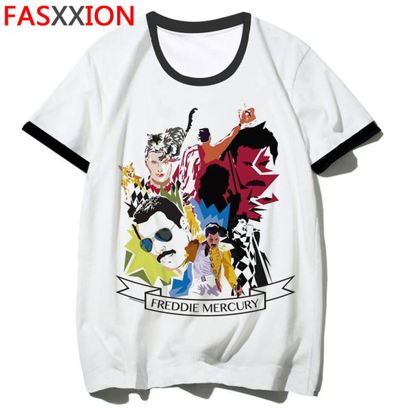 Freddie Mercury T Shirt Männer / Frauen Mode Queen Band T-Shirt Hip Hop Rock Punk Top Tees Sommer Kurzarm T-Shirt Männlich / weiblich