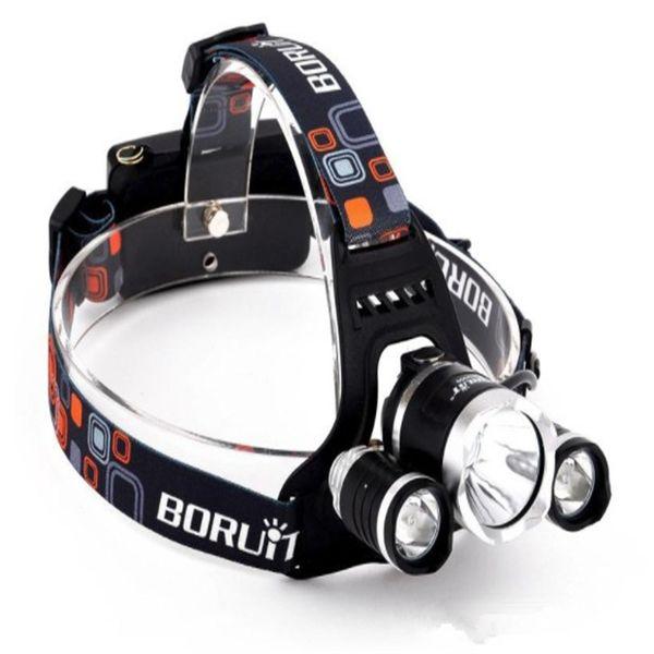 Super bright BORUiT RJ3000 6000Lm CREE XML T6+2R5 LED 4-mode Headlight Headlamp Head Lamp Light Flashlight Camping Fishing RHL001