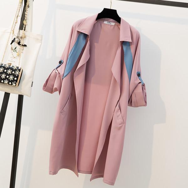 L-4XL Plus Size Trench Coat Roupas Femininas Primavera 2019 Moda Roll-up Longo Manga Solta Casual Rosa Cardigan Casaco Longo Femme
